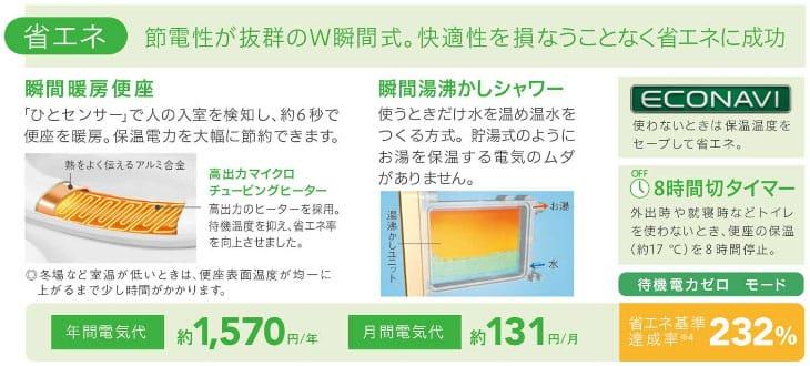 ウォシュレット取り付け屋さん:Panasonicの節電機能